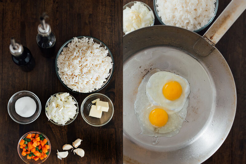 Two pictures side by side of a collection of ingredients and two eggs in a wok.