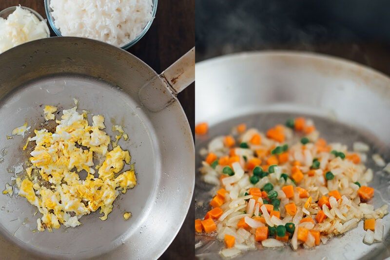 Two images side by side of scrambled eggs in a wok and peas, carrots and onions in a wok.