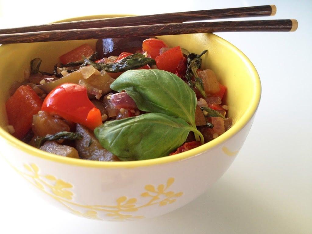 Eggplant and Basil Stir-Fry