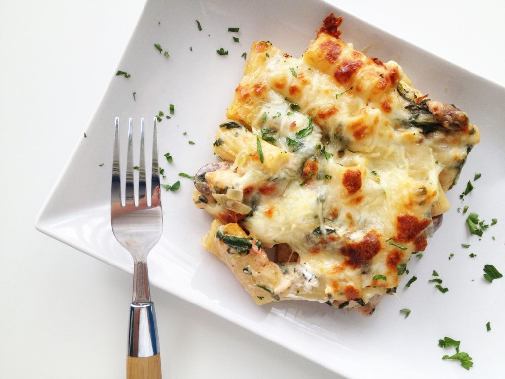 Chicken Spinach and Mushroom Pasta Bake