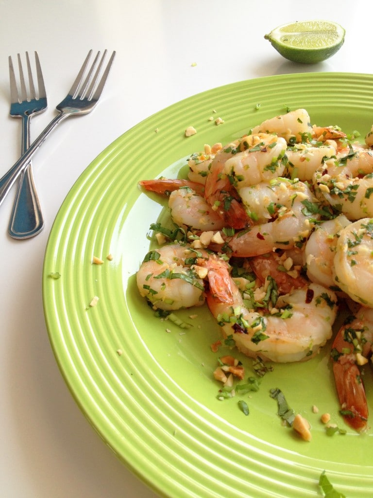 Grilled Shrimp with Peanuts, Cilantro and Lime