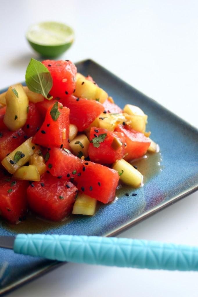 Hoisan Cucumber and Watermelon Salad