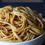 A big bowl of messy hibachi noodles.