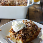 Pumpkin spice french toast casserole is a great fall brunch or dessert loaded with pumpkin and pumpkin pie flavors and a sweet and nutty streusel.