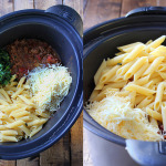 A slow cooker beef and cheese pasta that is cooked long and slow to bring out the best cheesy meat sauce!