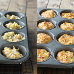 A side by side image of mashed potatoes in a muffin tin.