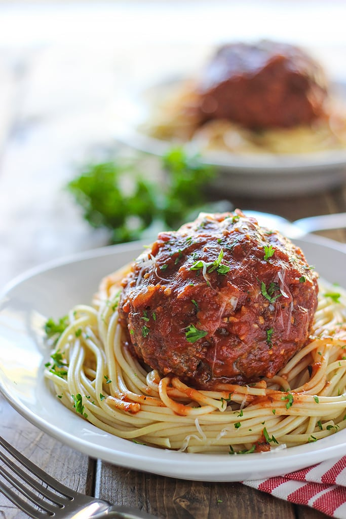 Mozzarella stuffed meatball pasta for two. At half a pound each, one meatball is all you need! Complete with a gooey cheesy center.