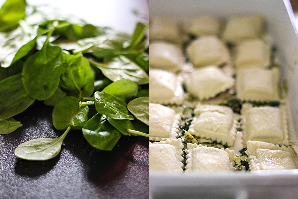An easy, cheesy rich and creamy spinach and artichoke ravioli bake. Easy to make with convenience items from grocery stores!