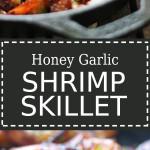 Honey garlic shrimp in a cast iron pan.