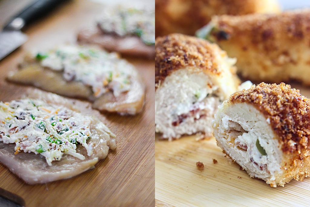 Jalapeno popper chicken is a fun way to snack with cream cheese, bacon bits and jalapenos stuffing in a crispy breaded chicken!