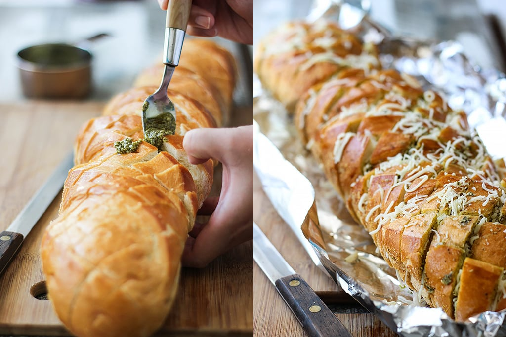 There's plenty of cheese action in this cheesy pesto pull-apart bread. Feed a crowd with this easy 4 ingredient appetizer.
