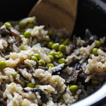 Mushroom risotto in a slow cooker.