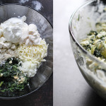 Side by side preparation shots of spinach and artichoke ravioli dip in a slow cooker.