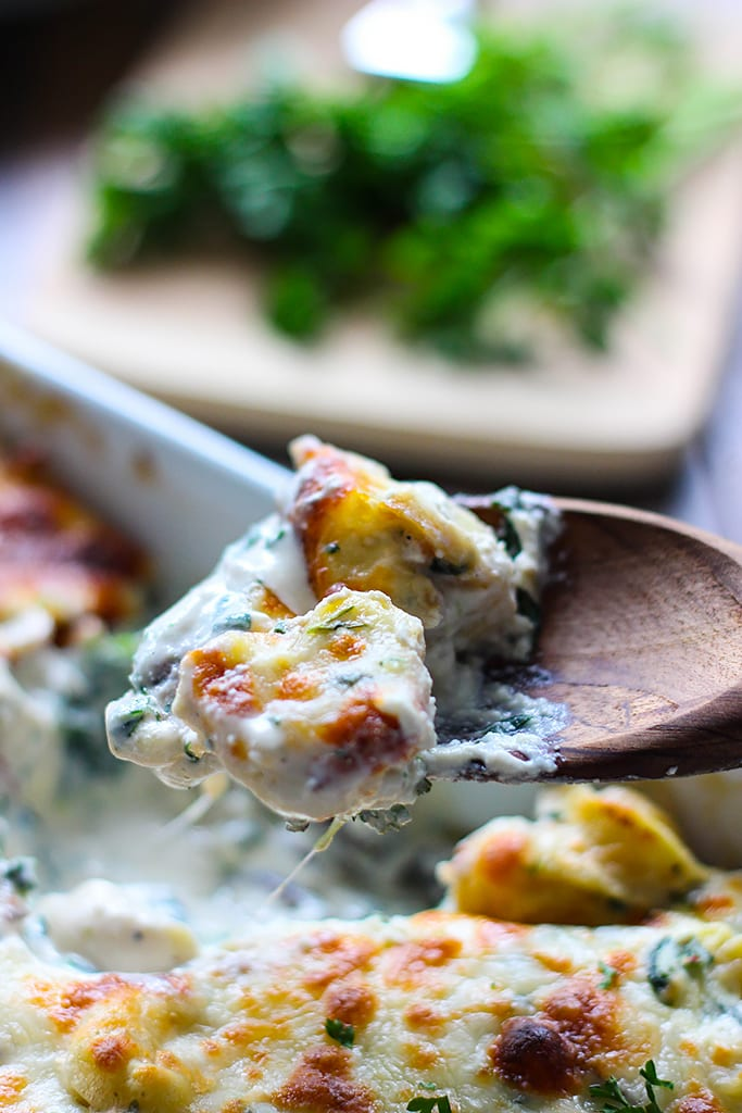 This tortellini Alfredo spinach casserole has all the comfort you need. Easily made with a couple store-bought ingredients!