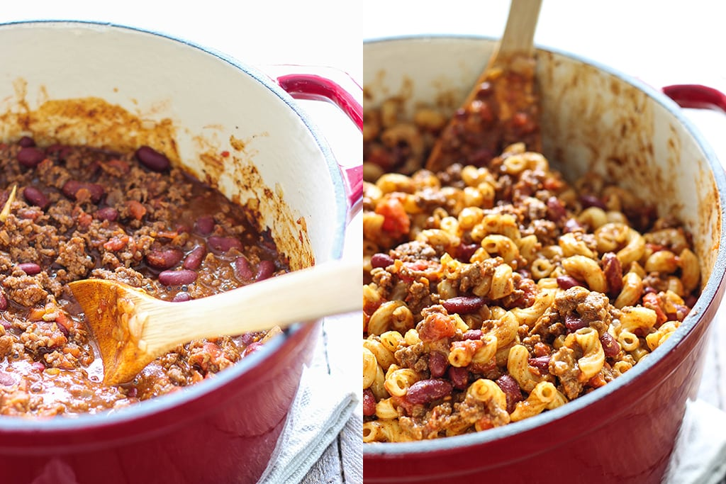Breakdown pictures of chili mac and cheese in a Dutch oven.