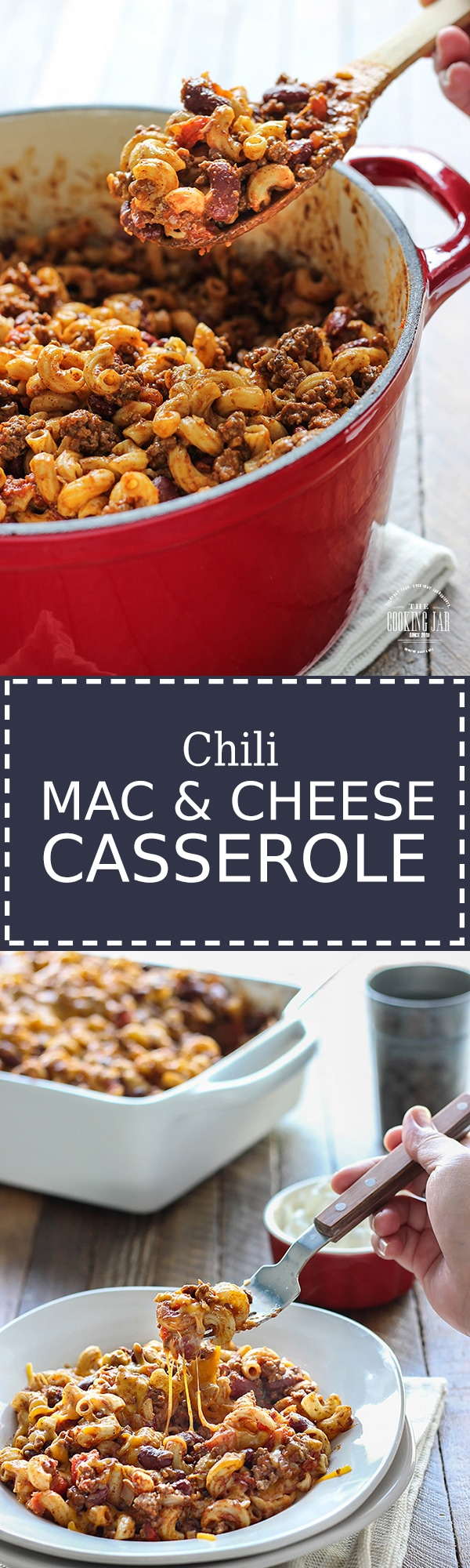 This delicious chili mac and cheese casserole with ground beef, diced tomatoes, chili beans, pasta and cheese is the perfect comfort food for winter.