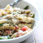 Turn store-bought ingredients into a hearty, comforting pesto chicken pasta bake. Super easy to put together for a delicious, big portioned family meal!