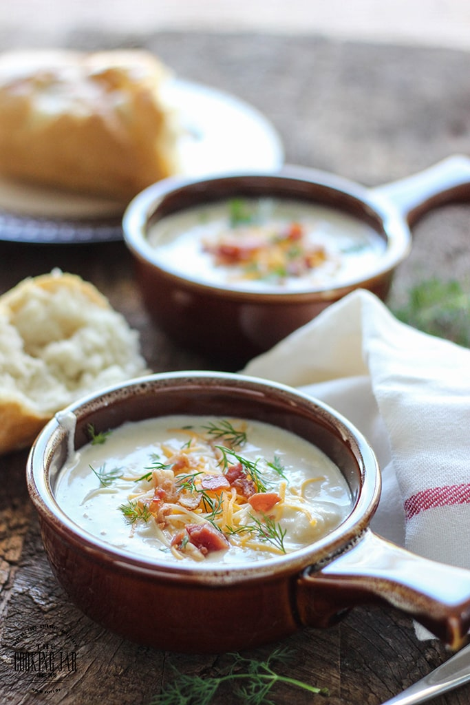 Slow cooker cream cheese and potato soup is hearty, creamy and perfect with bread. Slow cook your way to comfort food this winter.