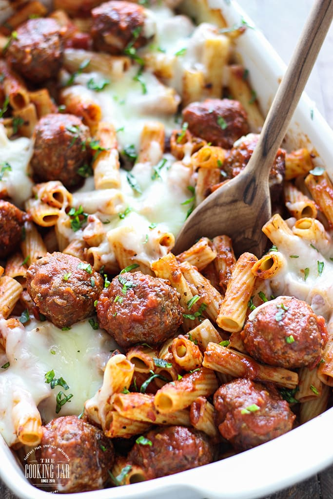Here's comfort in a bowl. This meatball pasta bake can be a 5 ingredient recipe with store-bought items or with homemade Parmesan meatballs and marinara sauce.