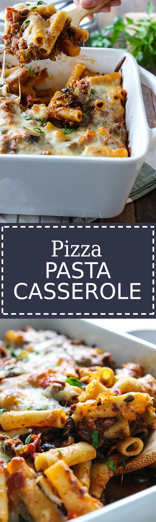This pizza pasta casserole has all the flavors of pizza you love in casserole form. With tons of mozzarella cheese and lots of cheese strings!