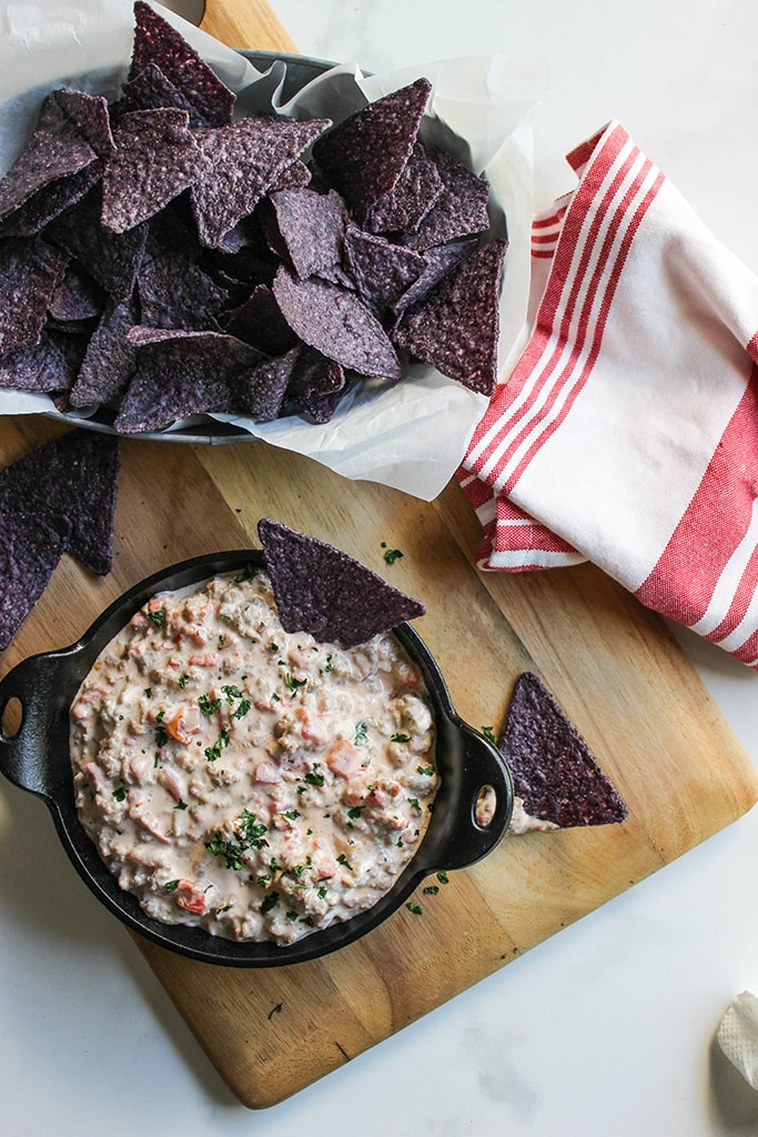 Entertain with this 3-ingredient cream cheese sausage dip. Ready in 15 minutes and easily customized to up your dip game!