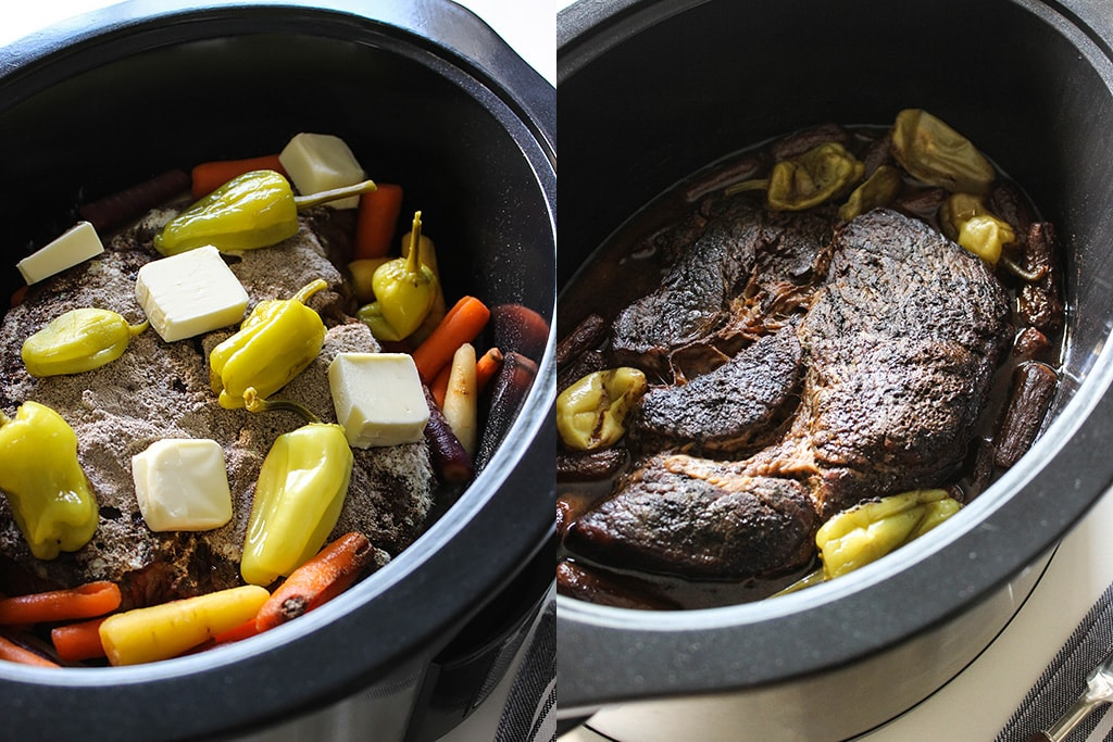 Before and after Mississippi pot roast cooking in a slow cooker.