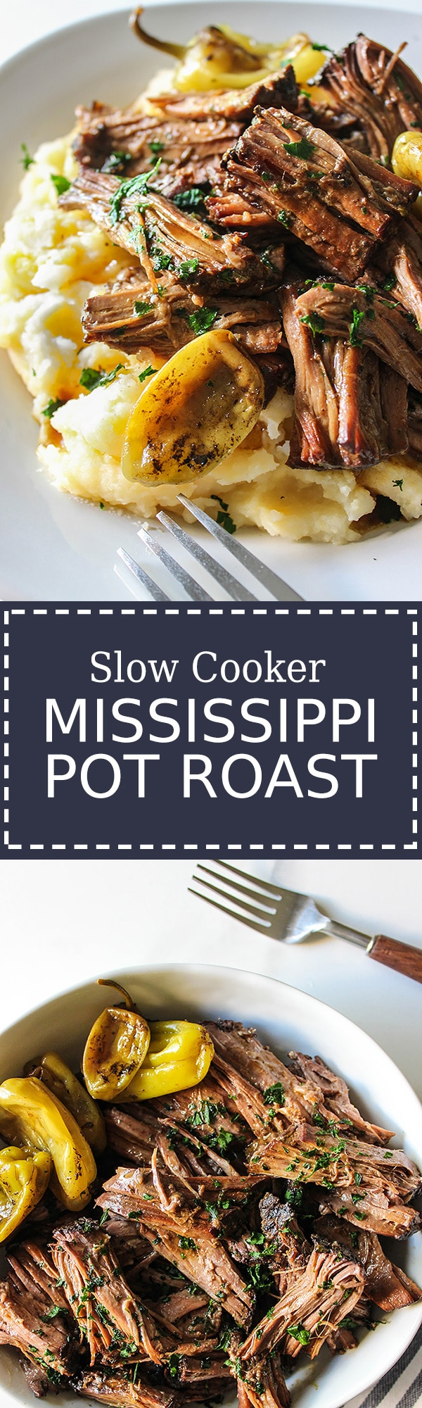Two images of Mississippi pot roast in a plate and bowl.