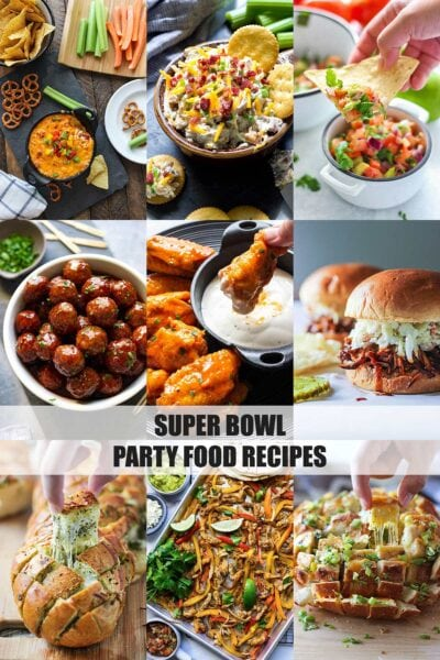 Nine food images of super bowl snack food recipes with dips, wings, breads and apps.