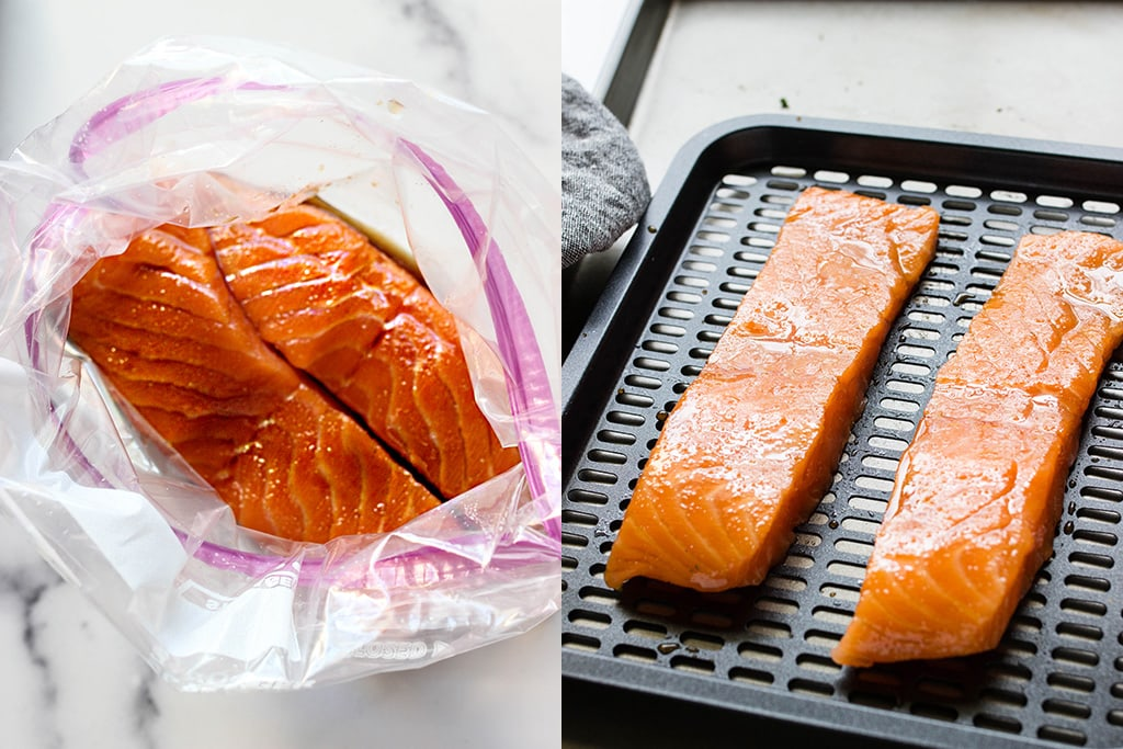 Preparation pictures of marinated salmon and salmon on an air fryer rack.