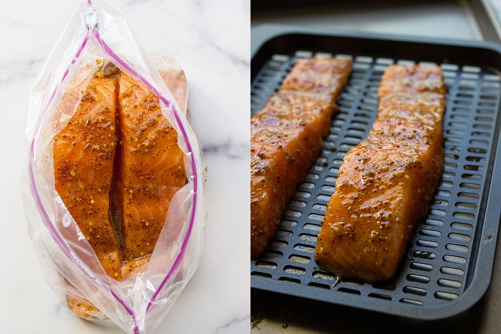 Preparation pictures of air fryer honey mustard salmon in a ziploc bag and on an air fryer tray.