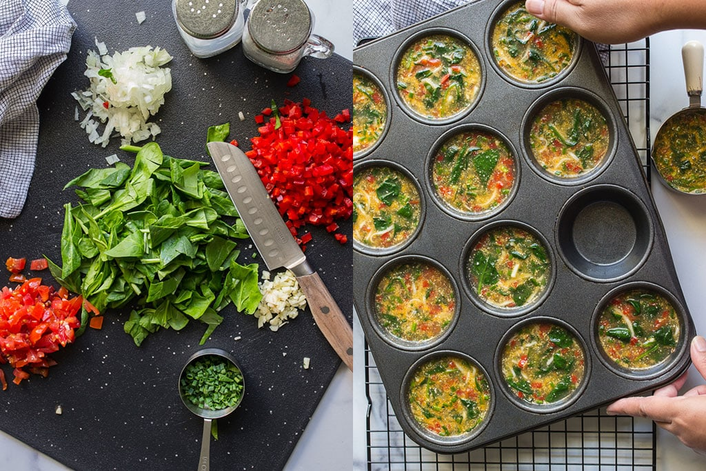 Shots of raw cut fresh ingredients and combined mixture in muffin pan.