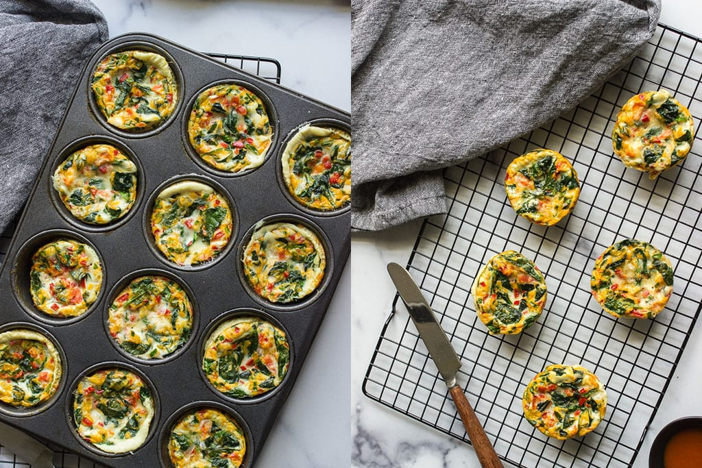 Shot of egg white muffins in a muffin tin and on a cooling rack.
