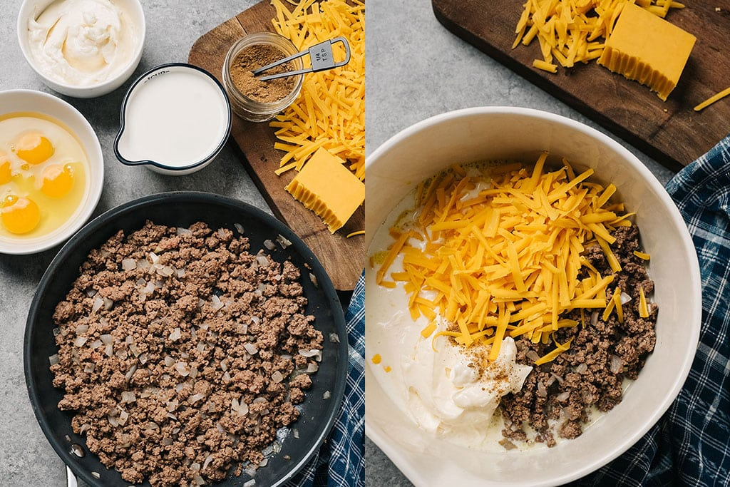 Two images side by side of ground beef cooked in a skillet and mixing together the ingredients of an easy hamburger quiche.