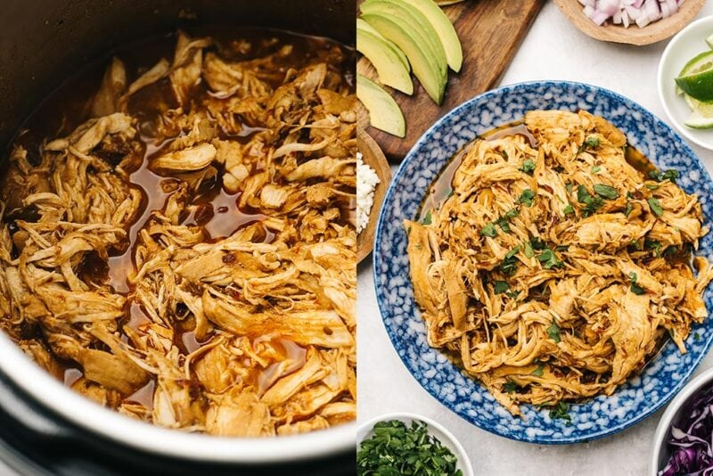 Two side by side shots of chipotle chicken tacos made in an instant pot and shredded in a blue bowl with taco fixings.