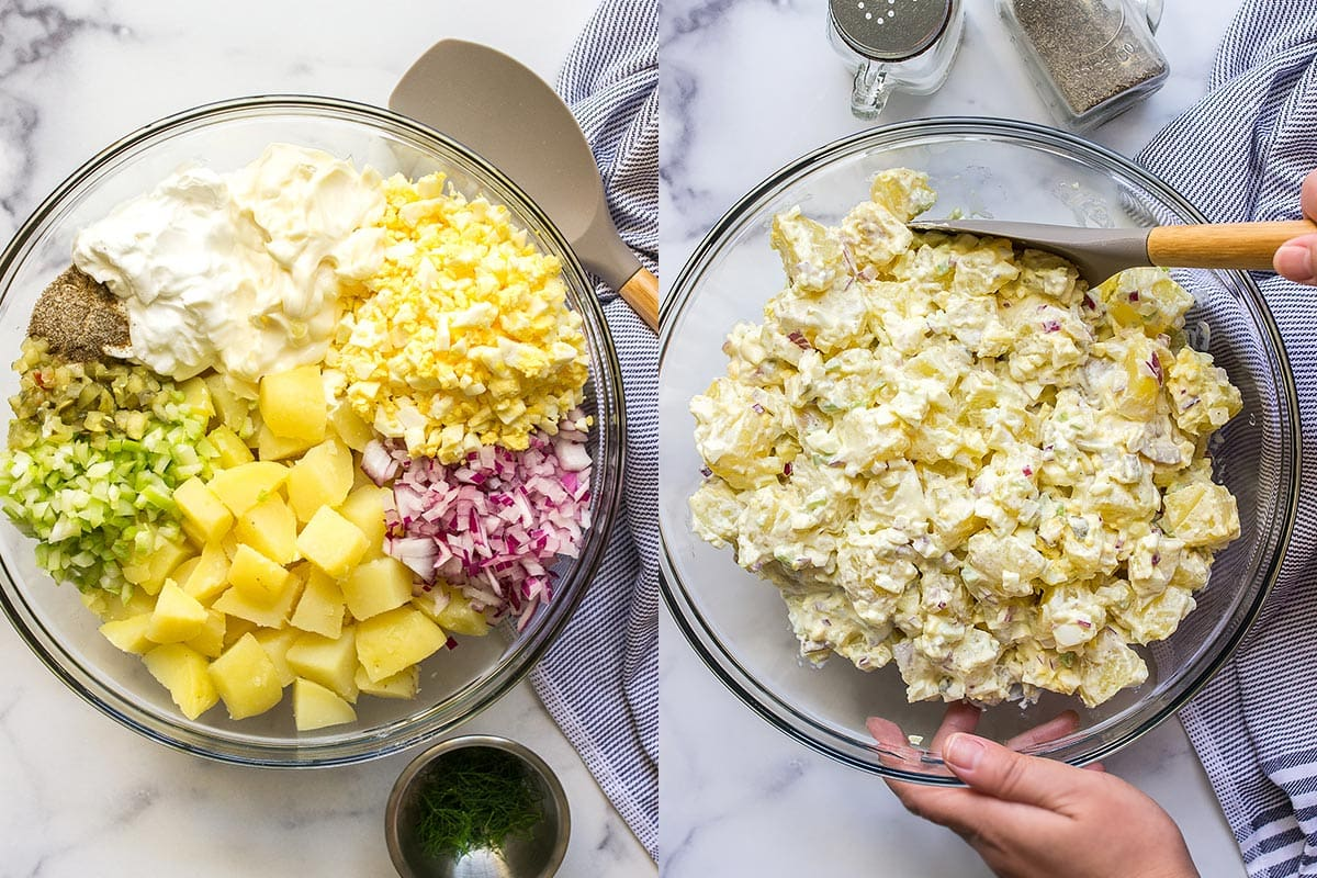 A before and after picture of a potato salad ingredients.