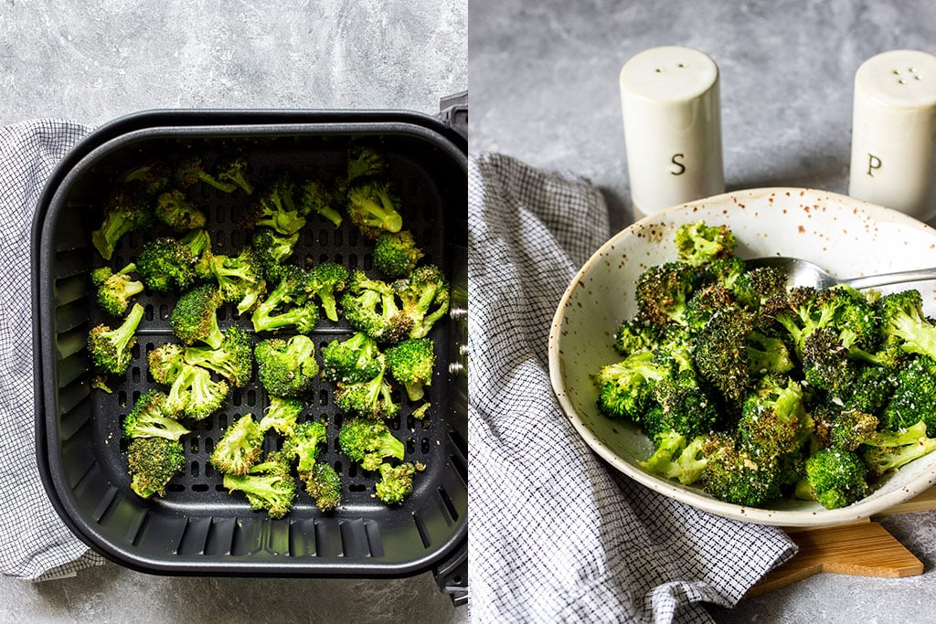 Two images of broccoli in an air fryer basket and a bowl of crispy air fryer garlic Parmesan broccoli.