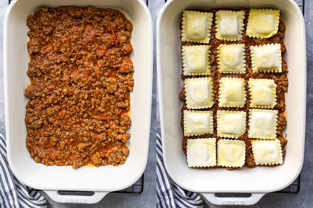 Two side by side images of a meat sauce layer and a ravioli layer for ravioli lasagna.