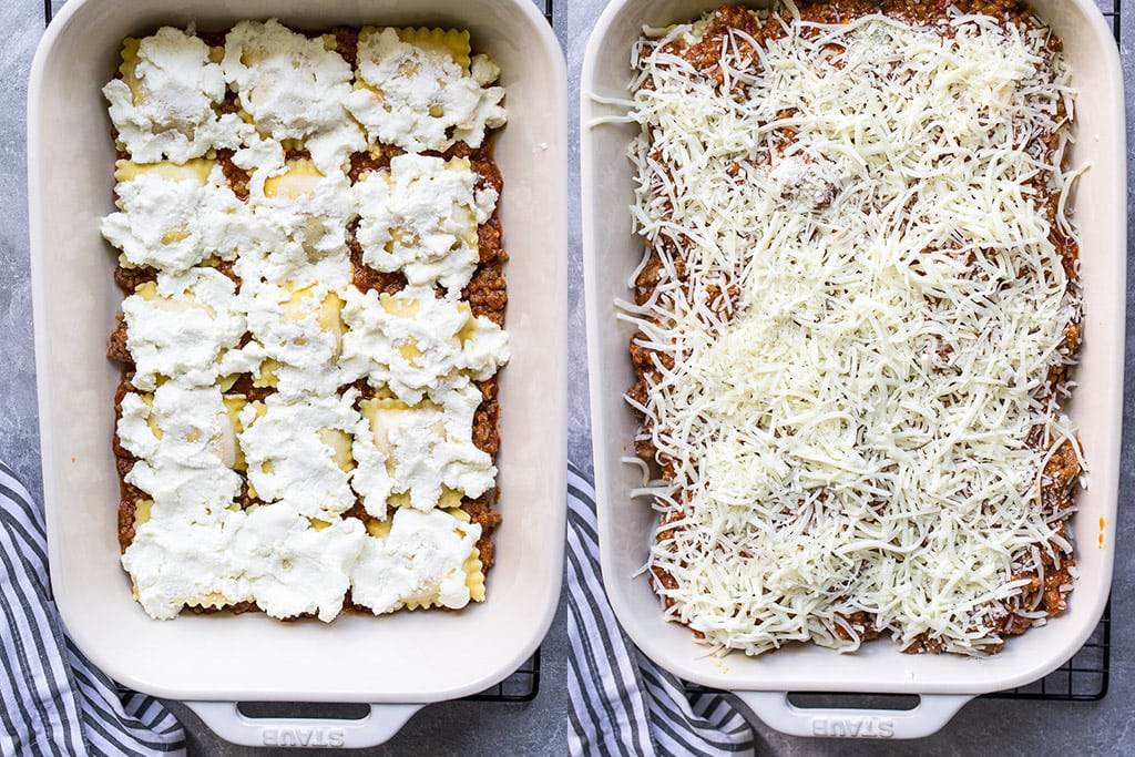 Two side by side images of a ricotta cheese layer and a mozzarella cheese layer for ravioli lasagna.