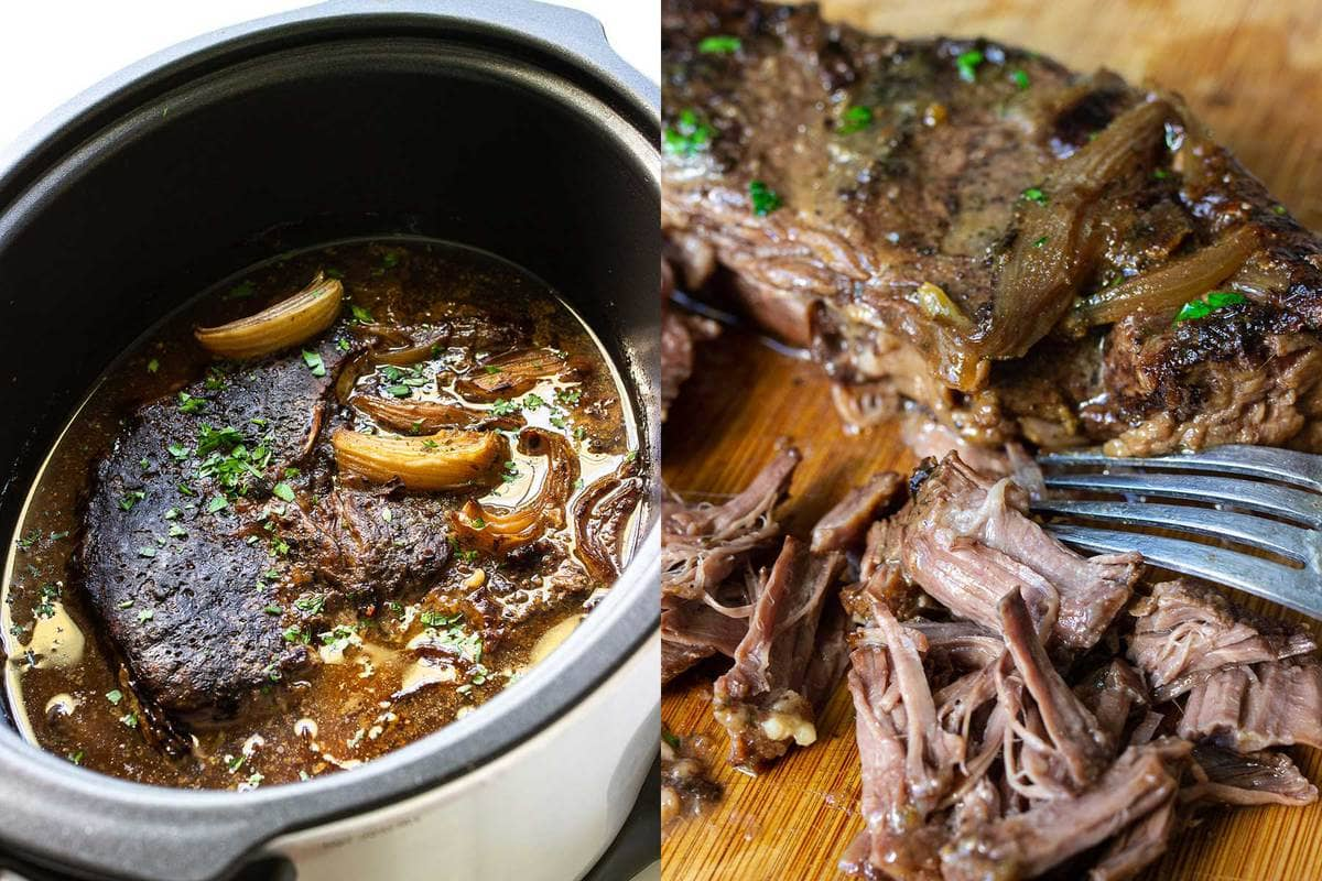 Two side by side photos of three packet roast in a slow cooker and a cutting board of shredded meat.