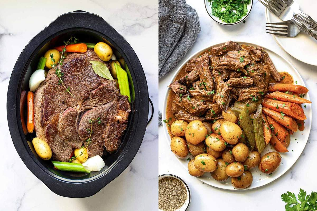 Side by side pictures of slow cooker pot roast before and after cooking.